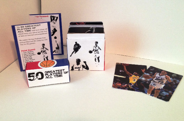 I physically constructed the box of chipboard, designed the label, 50 cards front and back, and a tri-fold pamphlet.