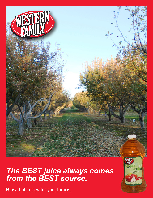 This is an ad I created to promote the apple juice bottle labels I redesigned for a project.