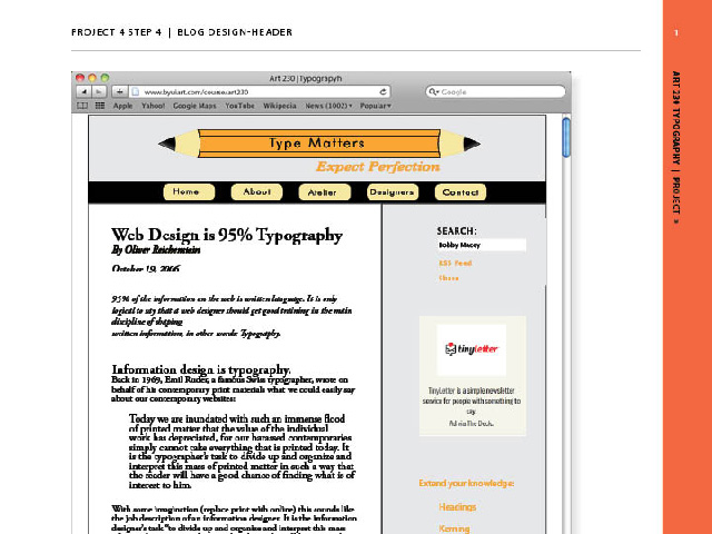I designed the header and home page of a website including elements of typography.