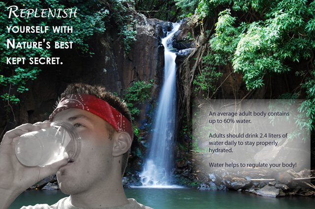 This project was used to introduce me to Photoshop. I had to create a campaign for a good cause. Drinking more water is always a good cause!