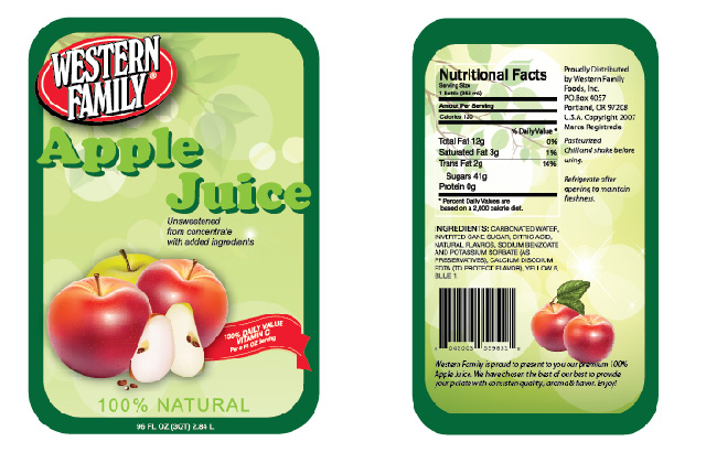 I redesigned the labels for Western Family Apple Juice bottles. I used the same WF logo but the overall label is very different. I used Adobe Illustrator.