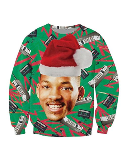 fresh prince of bel air, will smith, christmas sweater