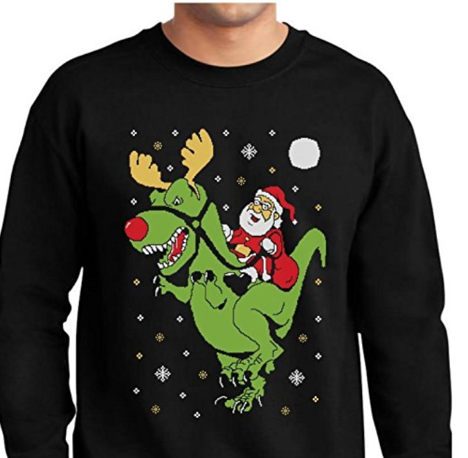 santa riding a t-rex sweatshirt
